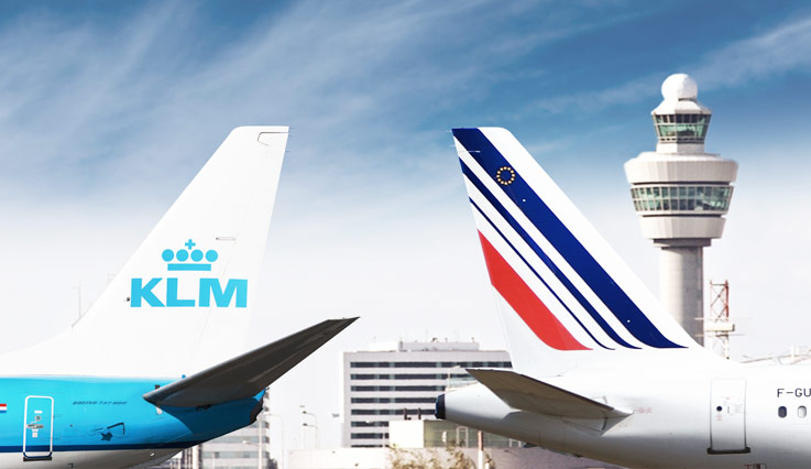 Aircraft tails, KLM and Air France.
