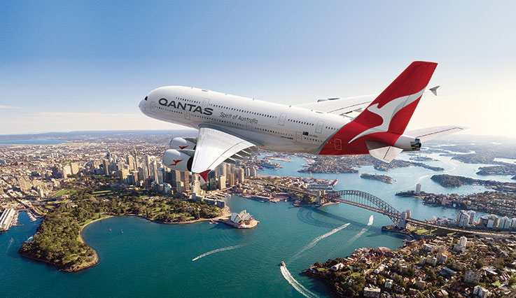 Qantas A380 flying over Sydney harbour