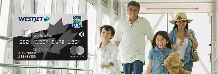 Family happily walking through airport  thanks to WestJet RBC World Elite Mastercard