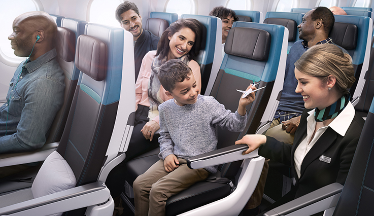 Family with flight attendant on WestJet Dreamliner