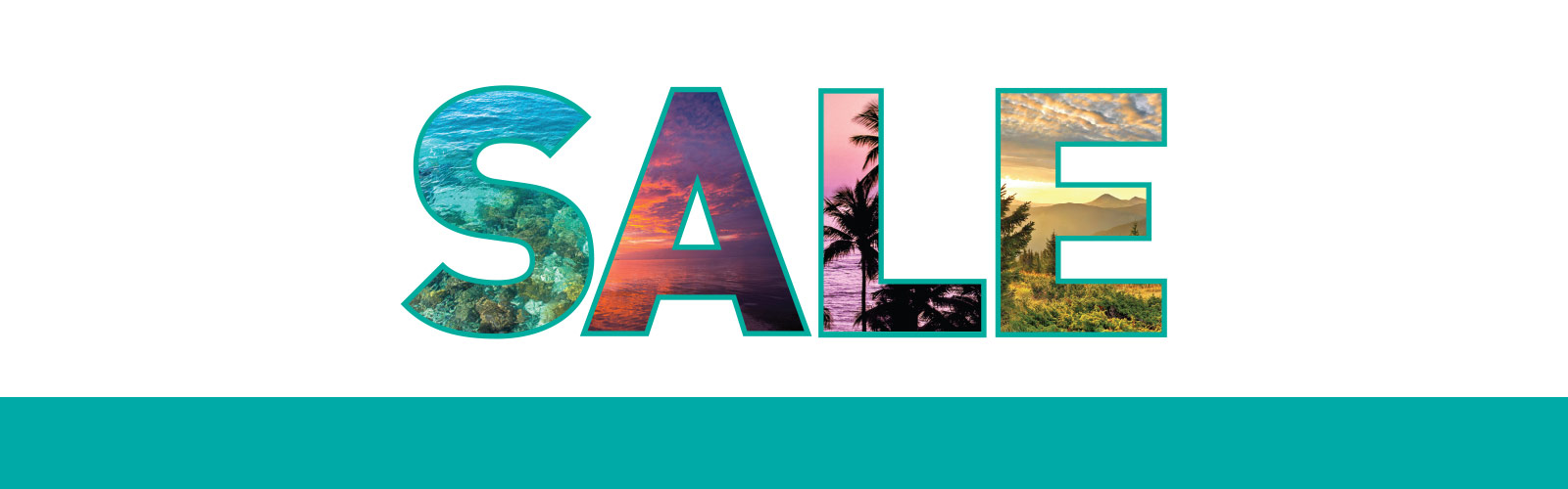 """SALE"" written with destination images inside the letters"