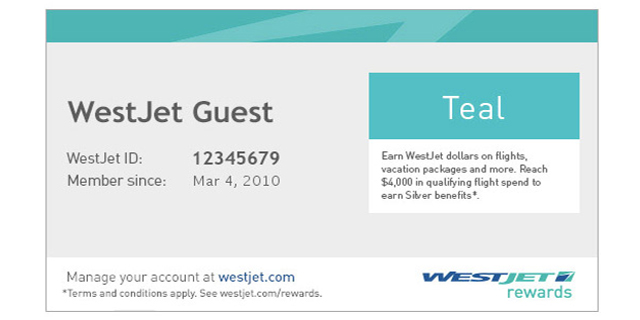 WestJet Rewards account