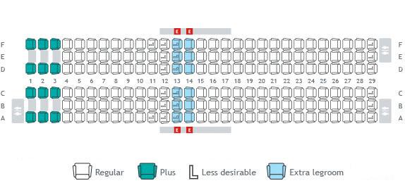 Seat Maps Seat Selection Travel Info WestJetcom - Us airways seating map