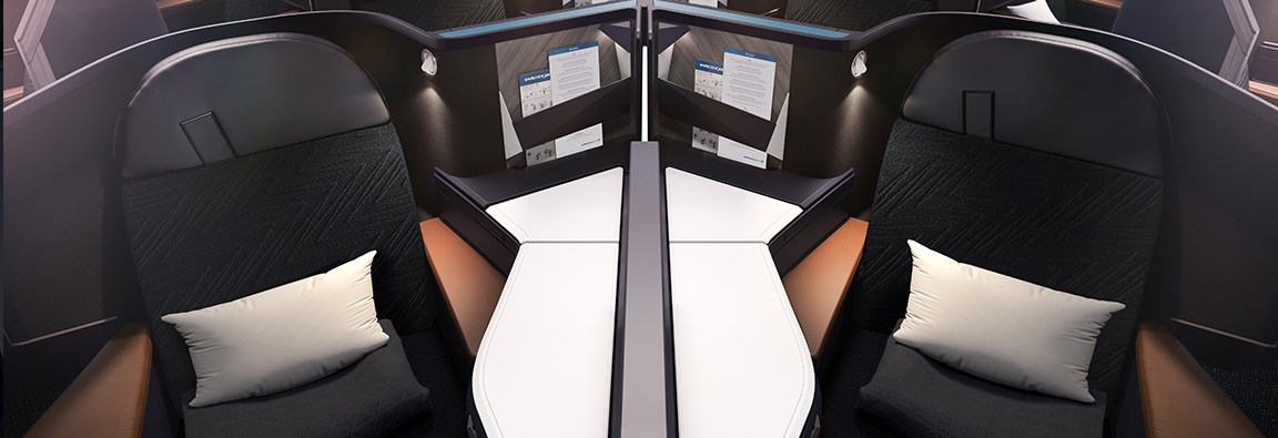 A view of the Business cabin on the WestJet 787 Dreamliner.