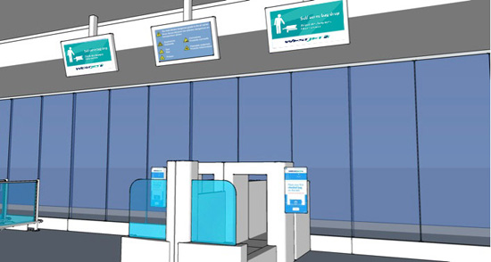 WestJet self-serve check in area at Halifax Stanfield International Airport