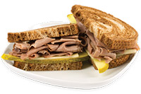 Roast beef on marble rye $7.49