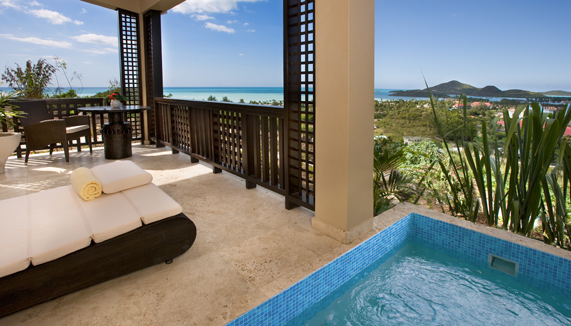 Showing slide 4 of 6 in image gallery showcasing Deluxe King with Plunge Pool