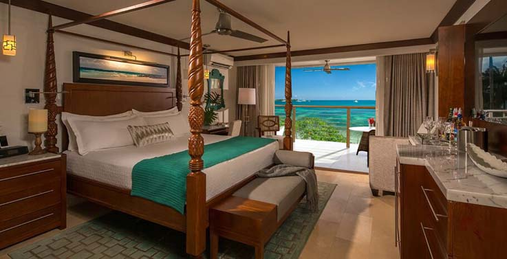 Image showcasing Royal Seaside Penthouse Oceanview Crystal Lagoon Club Level Barbados Suite w/ Balcony Tranquility Soaking Tub (PSLB)