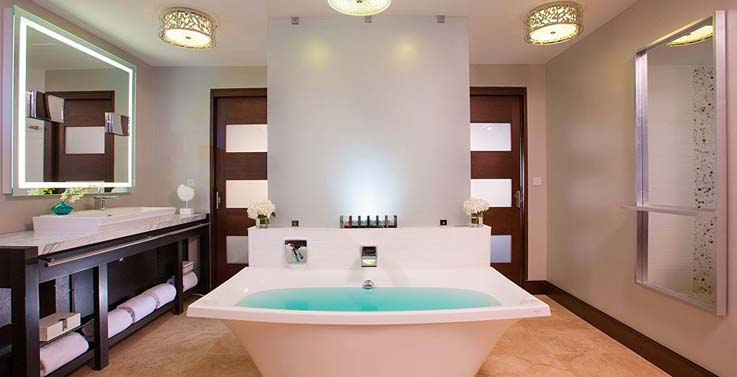Showing slide 2 of 2 in image gallery showcasing South seas walk out crystal lagoon club level junior palm suite w/patio tranquility soaking tub (WJPL)