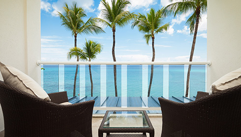 Showing slide 1 of 2 in image gallery, Oceanfront room balcony
