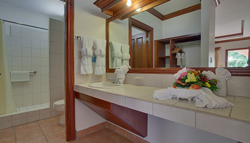 Showing slide 1 of 2 in image gallery, Deluxe Room bathroom