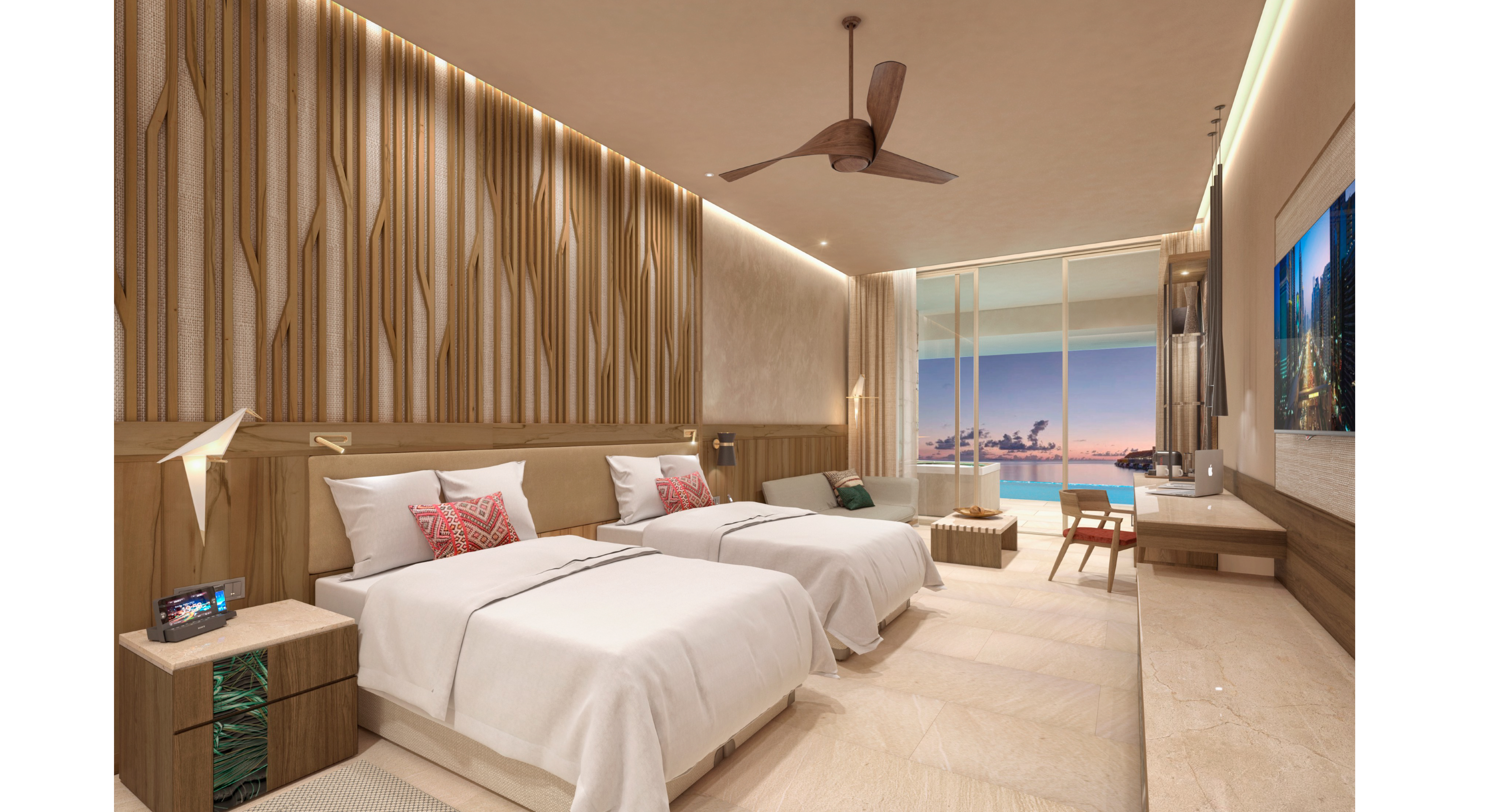 Showing slide 1 of 4 in image gallery showcasing Junior Suite Ocean Front Premium Level