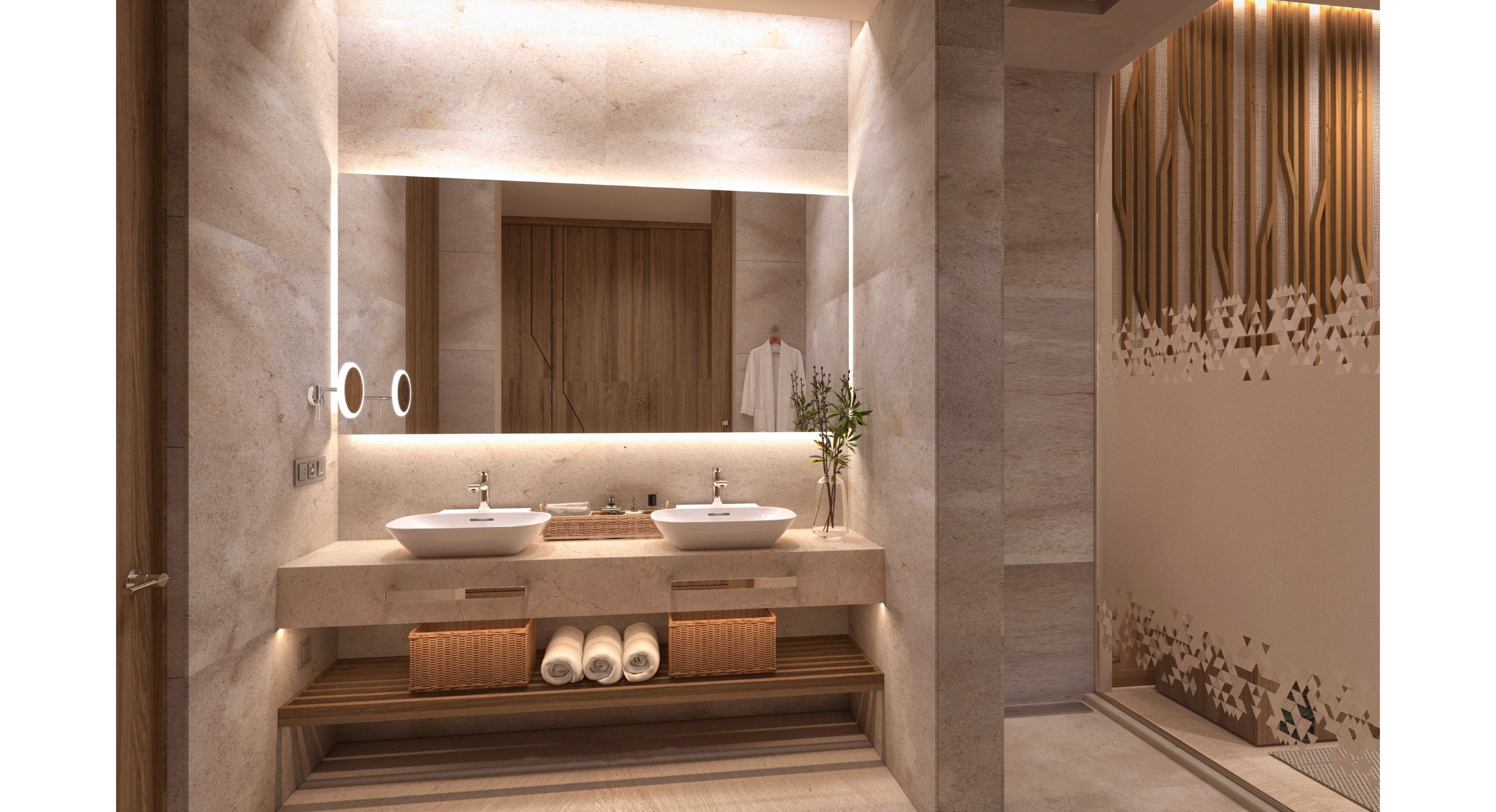 Showing slide 4 of 4 in image gallery, Junior Suite - bathroom (artist rendering)