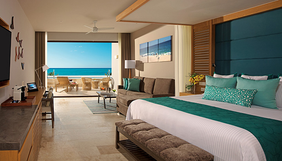 Showing slide 1 of 3 in image gallery showcasing Preferred Junior Suite Swim Out Ocean View