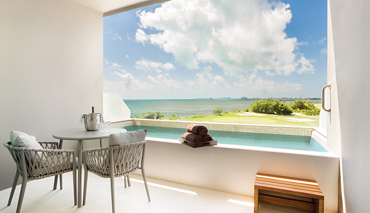 Showing slide 2 of 2 in image gallery showcasing Preferred  Club Deluxe Ocean View Plunge Pool