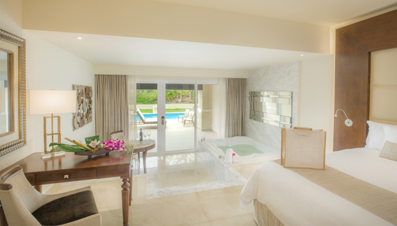 Showing slide 1 of 5 in image gallery showcasing Grand Swim up Suite