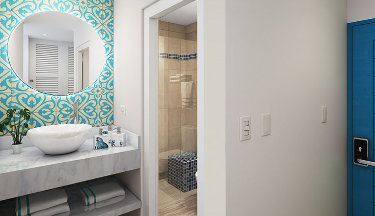 Showing slide 4 of 4 in image gallery, Paradise Room bathroom - artist rendering