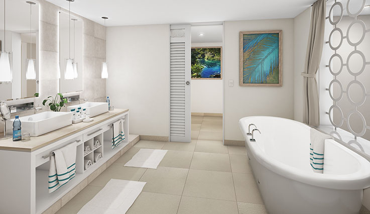 Showing slide 3 of 3 in image gallery, Paradise Suite bathroom - artist rendering