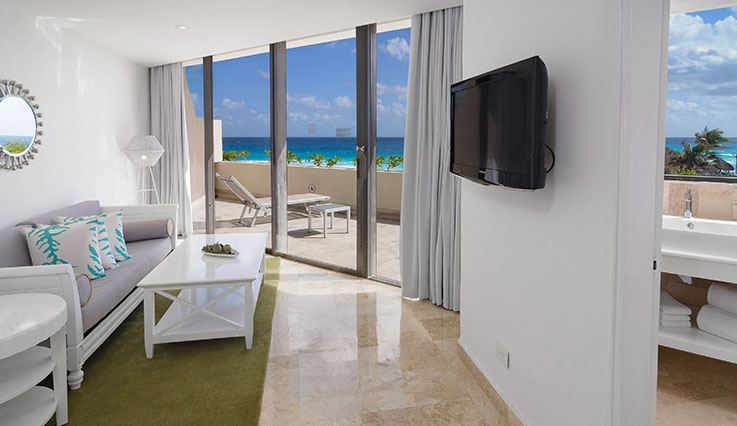 Showing slide 3 of 3 in image gallery, he Reserve One Bedroom Deluxe Ocean View Suite