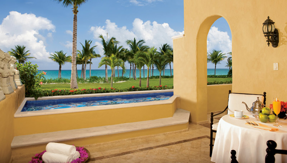 Showing slide 2 of 3 in image gallery showcasing Romance Ocean Front 1 Bedroom Suite with Plunge Pool