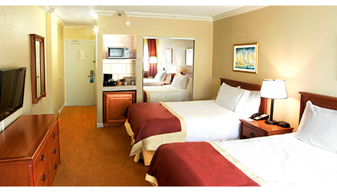 Showing slide 1 of 2 in image gallery, Hotel room with 2 double beds