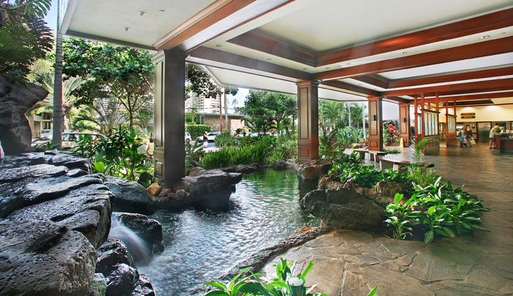 Lobby with Koi pond