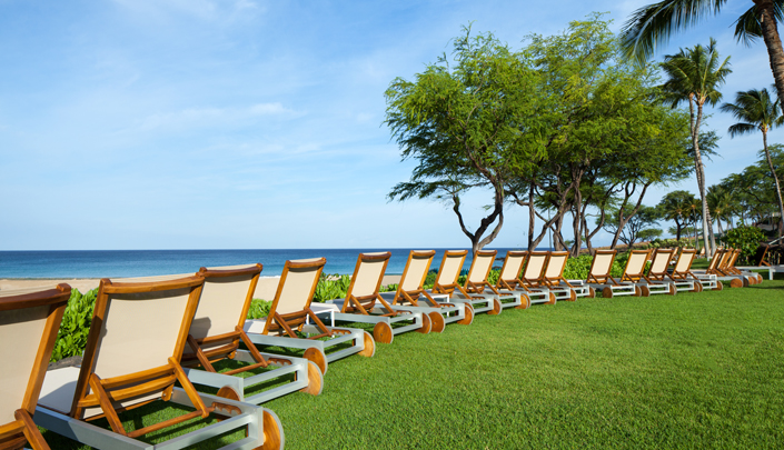 Chaise lounges with beach view