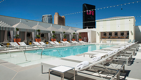 Rooftop Pool Lounging Area