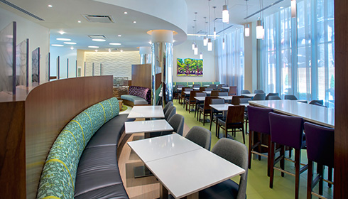 Showing slide 2 of 6 in image gallery, Lobby dining area