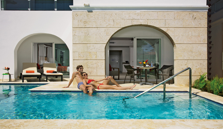 Showing slide 3 of 3 in image gallery, Preferred Club Suite Swim-up Tropical View - Terrace