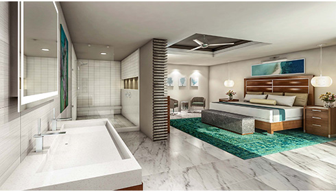 Image showcasing Oceanfront Honeymoon Club Level Room with Balcony Tranquility Soaking Tub (OFT)