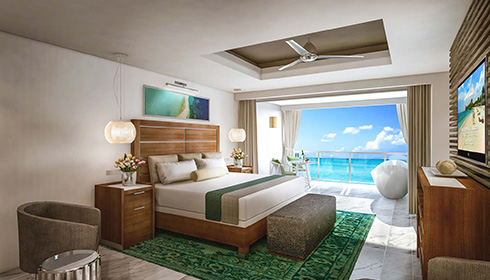 Image showcasing Oceanfront Honeymoon Walkout Club Level Room with Patio Tranquility Soaking Tub (WOFT)