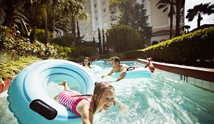 Family traveling down the lazy river.