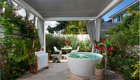 Image showcasing Royal English Walkout Butler Hideaway Villa Suite w/ Patio Tranquility Soaking Tub (HVS)