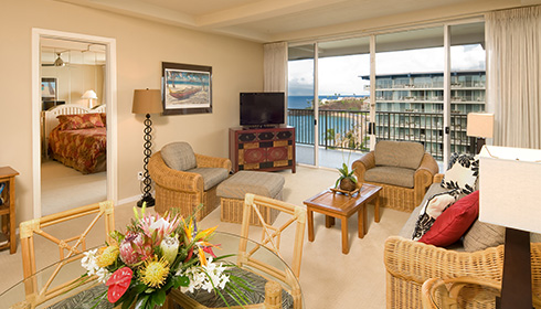 Showing slide 2 of 2 in image gallery showcasing One-Bedroom One-Bath Ocean View Suite