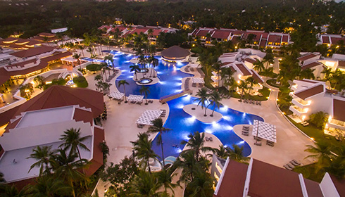 Pool aerial view at night