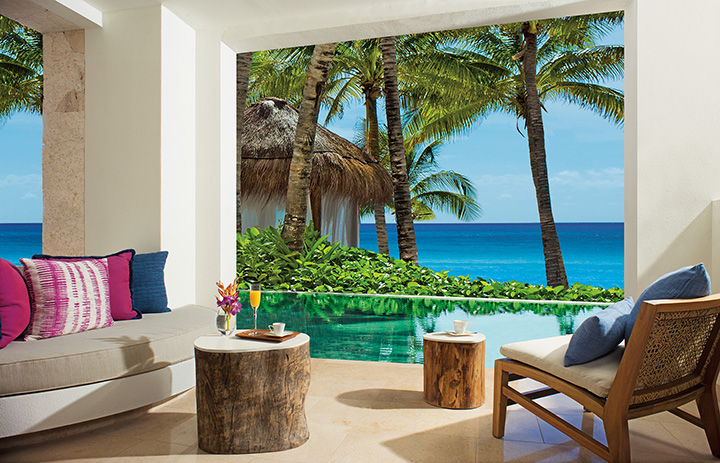 Showing slide 3 of 4 in image gallery showcasing Preferred Club Bungalow Suite Swim-out Ocean View