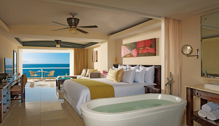 Showing slide 1 of 3 in image gallery, Preferred Club Junior Suite Ocean View with jacuzzi
