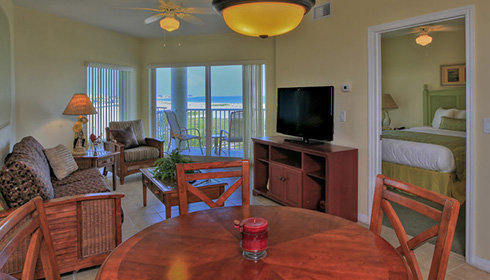 Showing slide 1 of 3 in image gallery showcasing 2 Bedroom Gulf View Suite