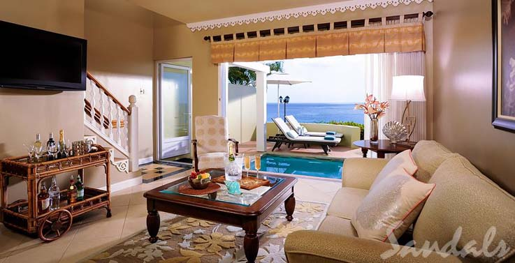 Image showcasing Sunset Bluff Oceanfront Two Story One Bedroom Butler Villa Suite with Private Pool (BP)