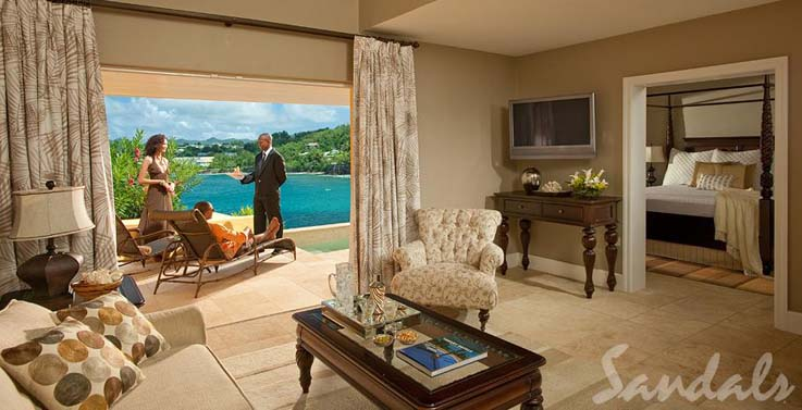 Image showcasing Sunset Bluff Honeymoon Oceanfront One Bedroom Butler Villa Suite with Private Pool (BS)