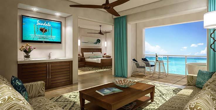 Image showcasing Sunset Bluff Oceanview One Bedroom Butler Suite w/ Balcony Tranquility Soaking Tub (RP1)