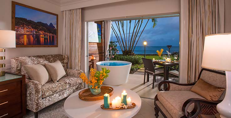 Image showcasing Emerald Beachfront Walkout Club Level Junior Suite w/ Patio Tranquility Soaking Tub (WEBT)
