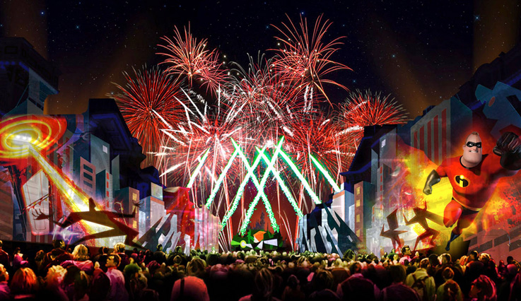Concept art for firework display based on The Incredibles