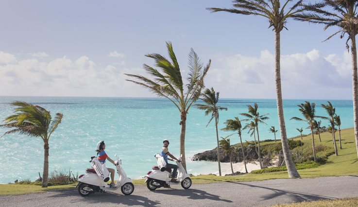 couple on scooters in Bermuda