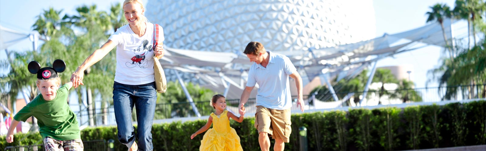 family running in Epcot park