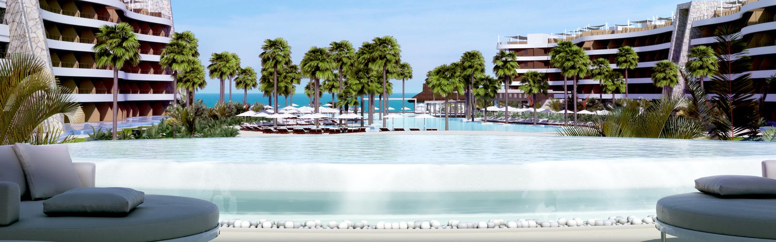 artist rendering of pool view from hotel