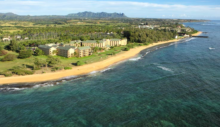 aerial view of Courtyard by Marriott Kauai Coconut Beach