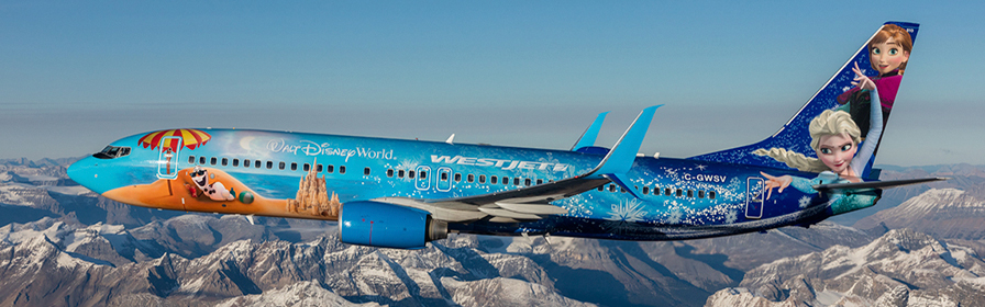 WestJet's Disney Frozen plane above the mountains