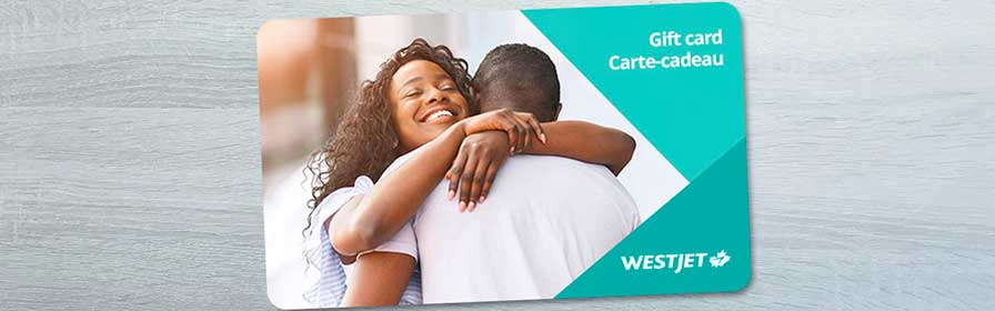 WestJet gift card, two people hugging